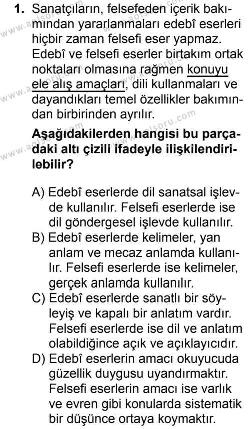 Türk Dili ve Edebiyatı 7 Dersi 2018 - 2019 Yılı 1. Dönem Sınavı 1. Soru