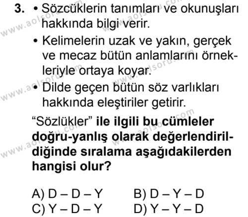 Türk Dili ve Edebiyatı 7 Dersi 2018-2019 Yılı 1. Dönem Sınavı 3. Soru