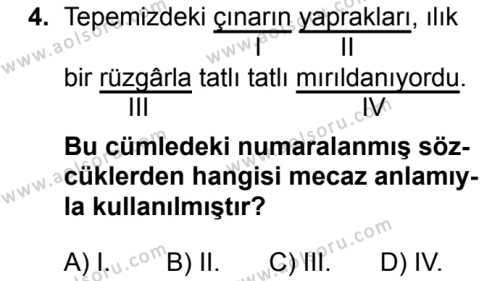 Türk Dili ve Edebiyatı 7 Dersi 2018 - 2019 Yılı 1. Dönem Sınavı 4. Soru