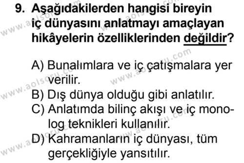 Türk Dili ve Edebiyatı 7 Dersi 2018-2019 Yılı 1. Dönem Sınavı 9. Soru