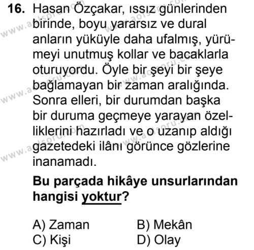 Türk Dili ve Edebiyatı 7 Dersi 2018-2019 Yılı 1. Dönem Sınavı 16. Soru