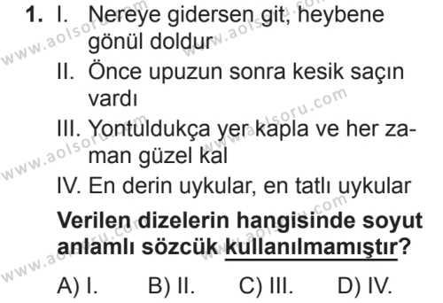 Türk Dili ve Edebiyatı 7 Dersi 2018 - 2019 Yılı 2. Dönem Sınavı 1. Soru