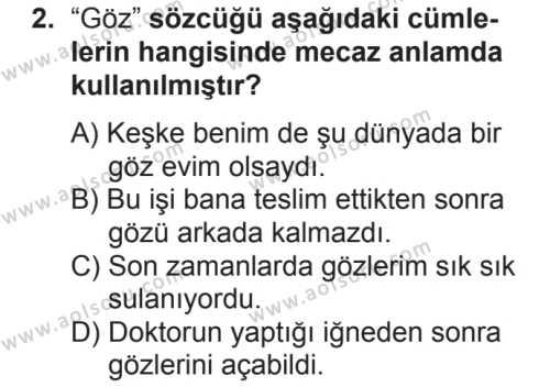Türk Dili ve Edebiyatı 7 Dersi 2018 - 2019 Yılı 2. Dönem Sınavı 2. Soru