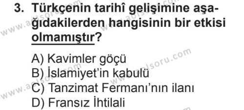 Türk Dili ve Edebiyatı 7 Dersi 2018 - 2019 Yılı 2. Dönem Sınavı 3. Soru