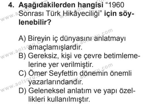 Türk Dili ve Edebiyatı 7 Dersi 2018 - 2019 Yılı 2. Dönem Sınavı 4. Soru