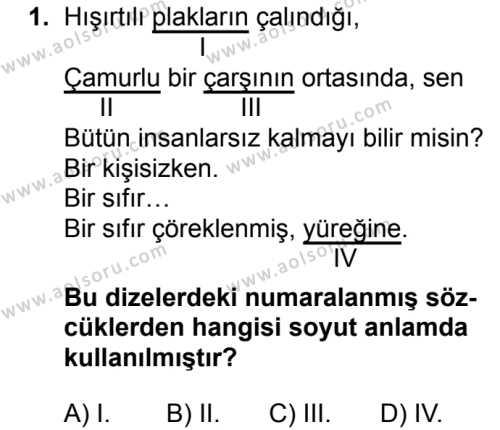 Türk Dili ve Edebiyatı 7 Dersi 2018 - 2019 Yılı Ek Sınav Soruları 1. Soru