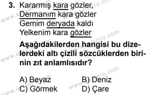 Türk Dili ve Edebiyatı 7 Dersi 2018 - 2019 Yılı Ek Sınav Soruları 3. Soru