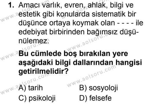 Türk Dili ve Edebiyatı 7 Dersi 2019 - 2020 Yılı 1. Dönem Sınav Soruları 1. Soru