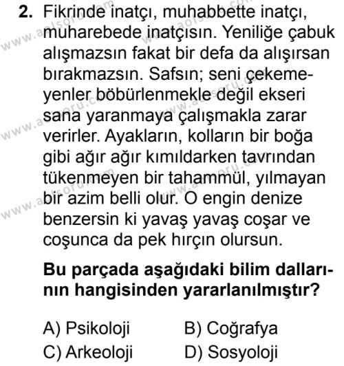Türk Dili ve Edebiyatı 7 Dersi 2019 - 2020 Yılı 1. Dönem Sınav Soruları 2. Soru