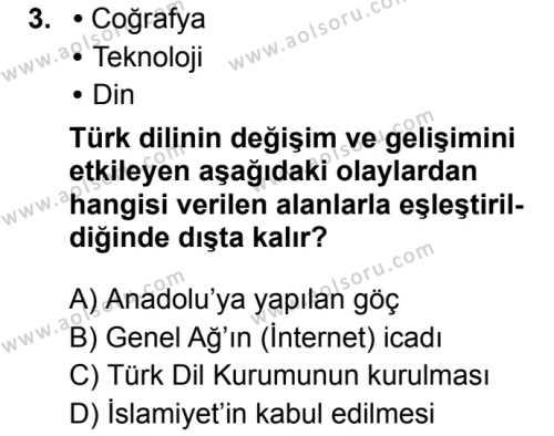 Türk Dili ve Edebiyatı 7 Dersi 2019 - 2020 Yılı 1. Dönem Sınav Soruları 3. Soru
