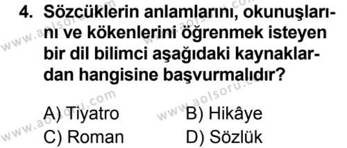 Türk Dili ve Edebiyatı 7 Dersi 2019 - 2020 Yılı 1. Dönem Sınav Soruları 4. Soru