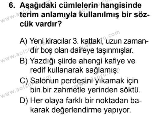 Türk Dili ve Edebiyatı 7 Dersi 2019-2020 Yılı 1. Dönem Sınavı 6. Soru