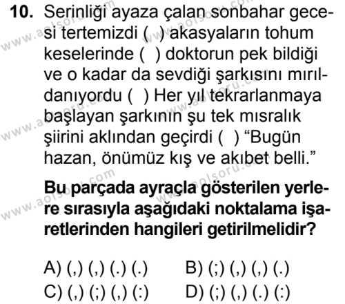 Türk Dili ve Edebiyatı 7 Dersi 2019-2020 Yılı 1. Dönem Sınavı 10. Soru