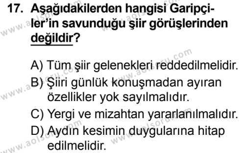Türk Dili ve Edebiyatı 7 Dersi 2019-2020 Yılı 1. Dönem Sınavı 17. Soru