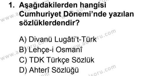 Türk Dili ve Edebiyatı 7 Dersi 2019 - 2020 Yılı 2. Dönem Sınav Soruları 1. Soru