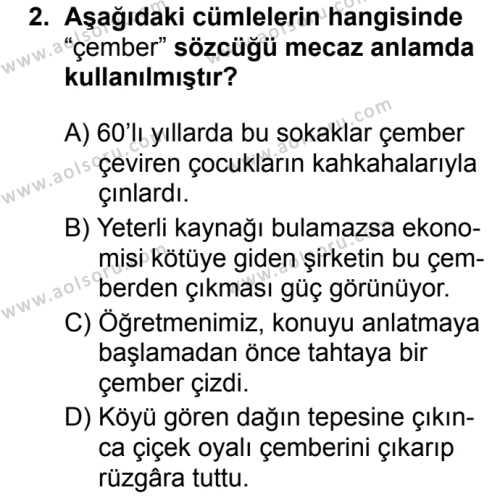 Türk Dili ve Edebiyatı 7 Dersi 2019 - 2020 Yılı 2. Dönem Sınav Soruları 2. Soru