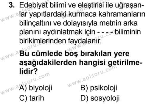 Türk Dili ve Edebiyatı 7 Dersi 2019 - 2020 Yılı 2. Dönem Sınav Soruları 3. Soru