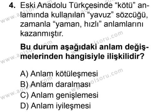 Türk Dili ve Edebiyatı 7 Dersi 2019 - 2020 Yılı 2. Dönem Sınav Soruları 4. Soru