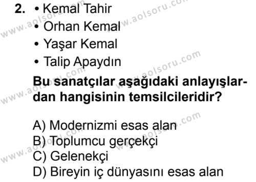 Türk Dili ve Edebiyatı 8 Dersi 2018 - 2019 Yılı 1. Dönem Sınavı 2. Soru