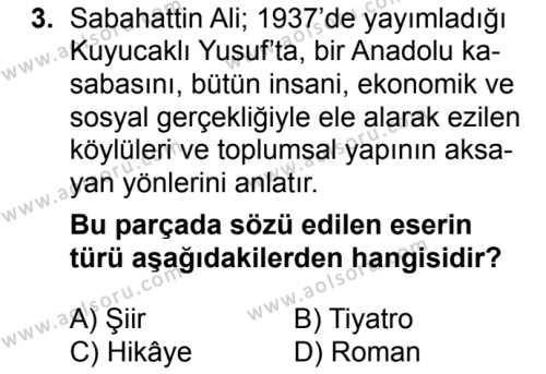 Türk Dili ve Edebiyatı 8 Dersi 2018 - 2019 Yılı 1. Dönem Sınavı 3. Soru