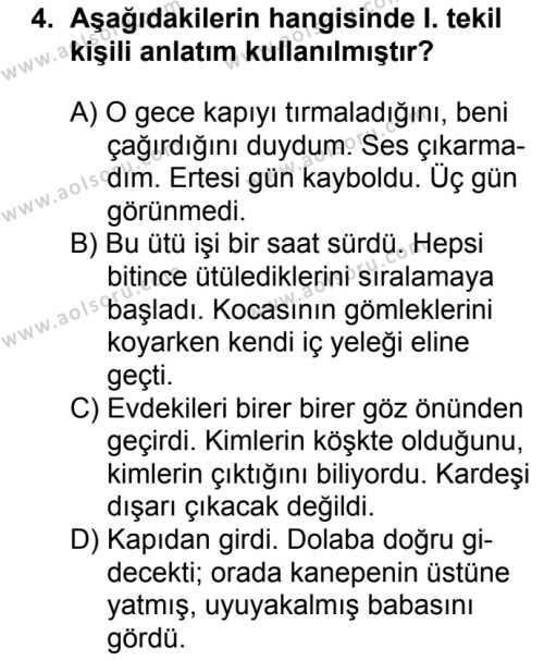 Türk Dili ve Edebiyatı 8 Dersi 2018 - 2019 Yılı 1. Dönem Sınavı 4. Soru