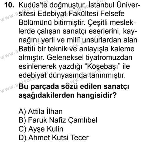 Türk Dili ve Edebiyatı 8 Dersi 2018-2019 Yılı 1. Dönem Sınavı 10. Soru