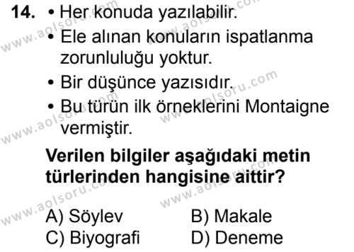 Türk Dili ve Edebiyatı 8 Dersi 2018-2019 Yılı 1. Dönem Sınavı 14. Soru