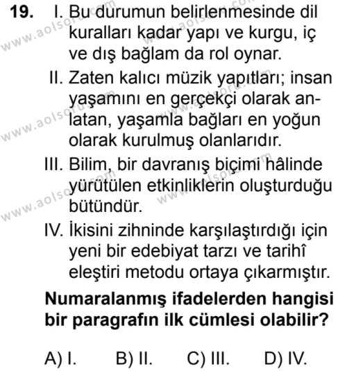 Türk Dili ve Edebiyatı 8 Dersi 2018-2019 Yılı 1. Dönem Sınavı 19. Soru