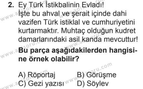 Türk Dili ve Edebiyatı 8 Dersi 2018 - 2019 Yılı 2. Dönem Sınavı 2. Soru
