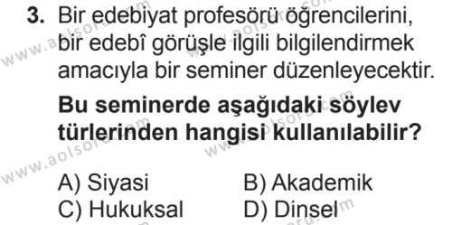 Türk Dili ve Edebiyatı 8 Dersi 2018 - 2019 Yılı 2. Dönem Sınavı 3. Soru
