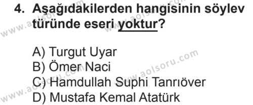 Türk Dili ve Edebiyatı 8 Dersi 2018 - 2019 Yılı 2. Dönem Sınavı 4. Soru