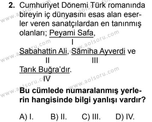 Türk Dili ve Edebiyatı 8 Dersi 2018 - 2019 Yılı 3. Dönem Sınavı 2. Soru