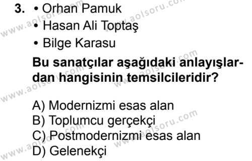 Türk Dili ve Edebiyatı 8 Dersi 2018 - 2019 Yılı 3. Dönem Sınavı 3. Soru