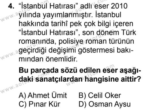 Türk Dili ve Edebiyatı 8 Dersi 2018 - 2019 Yılı 3. Dönem Sınavı 4. Soru
