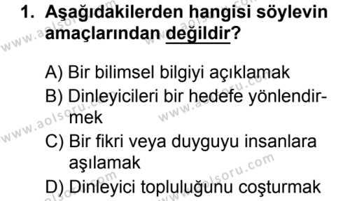 Türk Dili ve Edebiyatı 8 Dersi 2019 - 2020 Yılı 1. Dönem Sınav Soruları 1. Soru