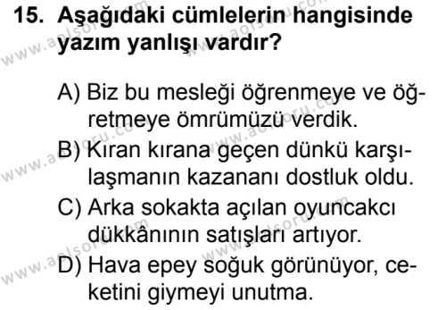 Türk Dili ve Edebiyatı 8 Dersi 2019-2020 Yılı 1. Dönem Sınavı 15. Soru