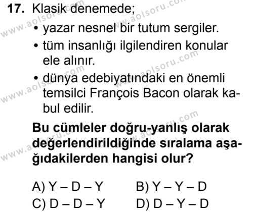 Türk Dili ve Edebiyatı 8 Dersi 2019-2020 Yılı 1. Dönem Sınavı 17. Soru