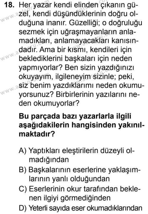 Türk Dili ve Edebiyatı 8 Dersi 2019-2020 Yılı 1. Dönem Sınavı 18. Soru
