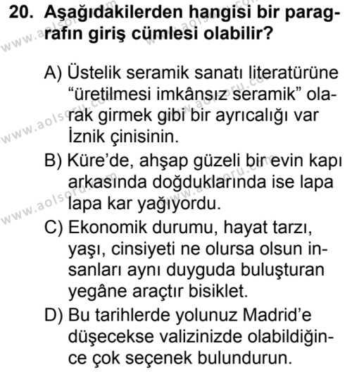 Türk Dili ve Edebiyatı 8 Dersi 2019-2020 Yılı 1. Dönem Sınavı 20. Soru