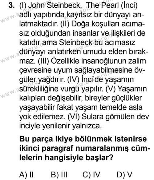Türk Dili ve Edebiyatı 8 Dersi 2019 - 2020 Yılı 2. Dönem Sınav Soruları 3. Soru