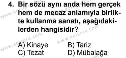 Türk Edebiyatı 1 Dersi 2011 - 2012 Yılı Ek Sınav Soruları 4. Soru