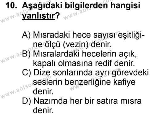 Türk Edebiyatı 1 Dersi 2012-2013 Yılı 1. Dönem Sınavı 10. Soru