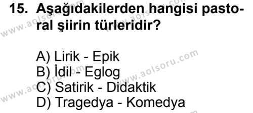 Türk Edebiyatı 1 Dersi 2013-2014 Yılı 1. Dönem Sınavı 15. Soru