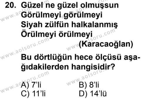 Türk Edebiyatı 1 Dersi 2013-2014 Yılı 1. Dönem Sınavı 20. Soru