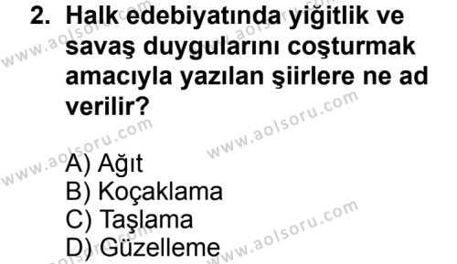 Türk Edebiyatı 1 Dersi 2013 - 2014 Yılı 3. Dönem Sınav Soruları 2. Soru