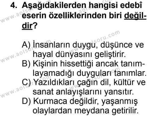 Türk Edebiyatı 1 Dersi 2013 - 2014 Yılı 3. Dönem Sınav Soruları 4. Soru