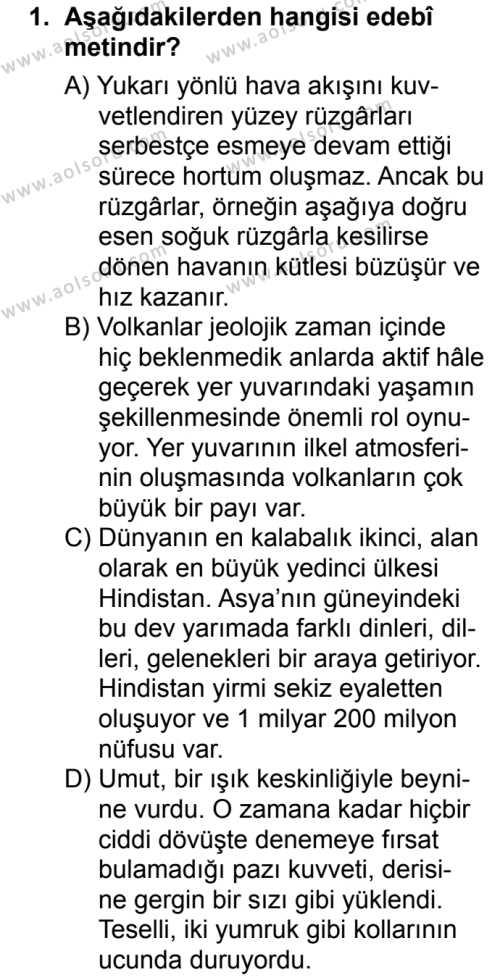 Türk Edebiyatı 1 Dersi 2016-2017 Yılı 1. Dönem Sınavı 1. Soru