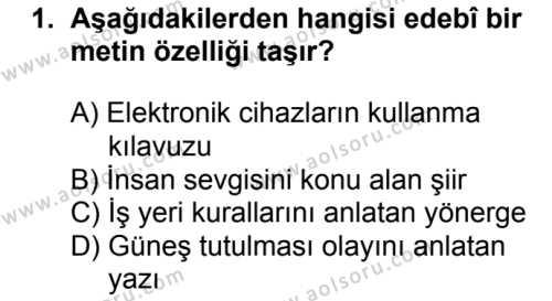 Türk Edebiyatı 1 Dersi 2017-2018 Yılı 1. Dönem Sınavı 1. Soru