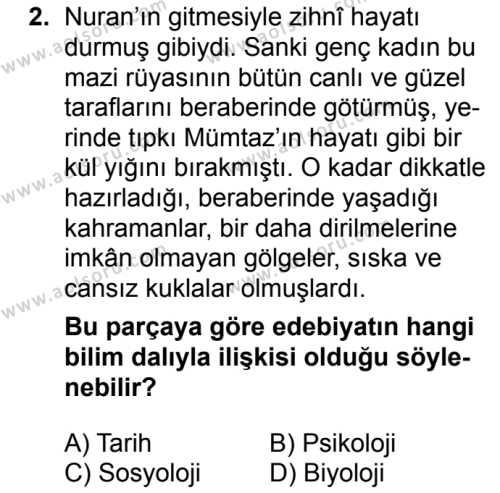 Türk Edebiyatı 1 Dersi 2017 - 2018 Yılı 2. Dönem Sınavı 2. Soru