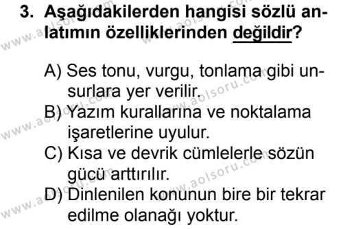 Türk Edebiyatı 1 Dersi 2017 - 2018 Yılı 2. Dönem Sınavı 3. Soru